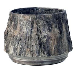7-inch Medium Cement Faux Bois Planter