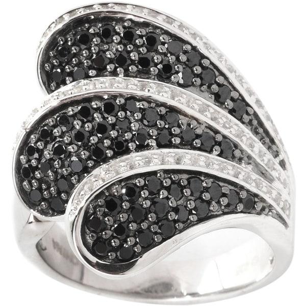 Sterling Silver Black Spinel White Topaz Wave Ring