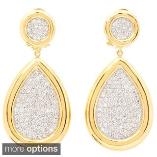 Goldplated Brass Cubic Zirconia Pear-shaped Dangle Earrings