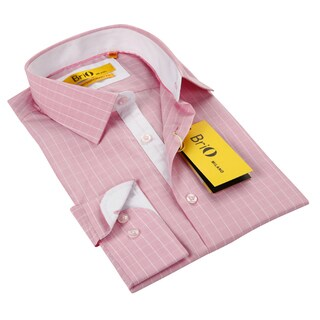 BriO Milano Men's Pink/ White Button Down Dress Shirt