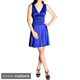 Evanese Women's Shiny Venezian Mini Cocktail Dress