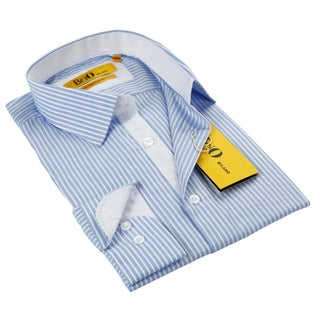 BriO Milano Men's Blue/ White Button Down Dress Shirt