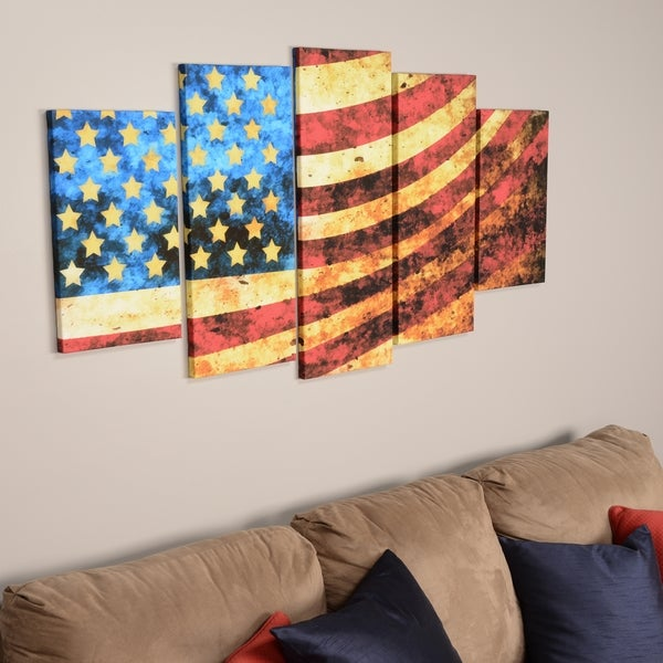 God Bless America Flag' Canvas Art Set
