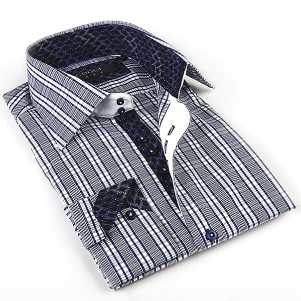 Coogi Luxe Men's Dark Blue/ Cream Button Down Dress Shirt