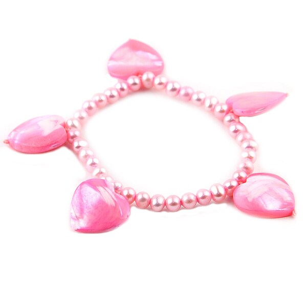 Pink Mother of Pearl Hearts and Beaded 6-inch Bracelet