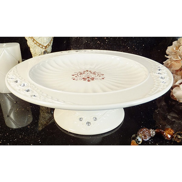 D'Lusso Designs Diamante Collection Deluxe Ivory Cake Plate