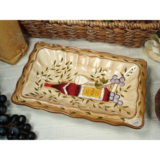 D'Lusso Designs Tuscan Harvest Design Ceramic Rectangular Platter
