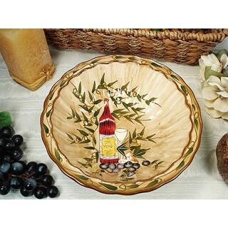 D'Lusso Designs Tuscan Harvest Design Ceramic Round Serving Bowl
