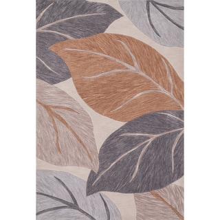 Hand-tufted Eve Ivory/ Grey Harvest Leaves Rug (3'6 x 5'6)