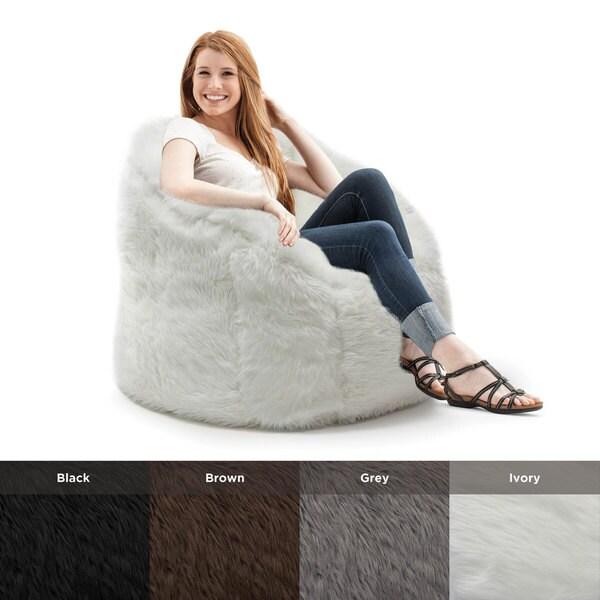 Big pink bean bag chairs - Beansack Big Joe Milano Faux Fur Bean Bag Chair 16718462