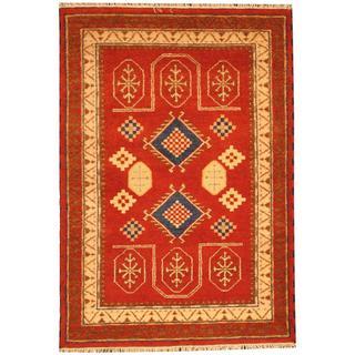 Herat Oriental Indo Hand-knotted Tribal Kazak Red/ Navy Wool Rug (4'2 x 5'11)