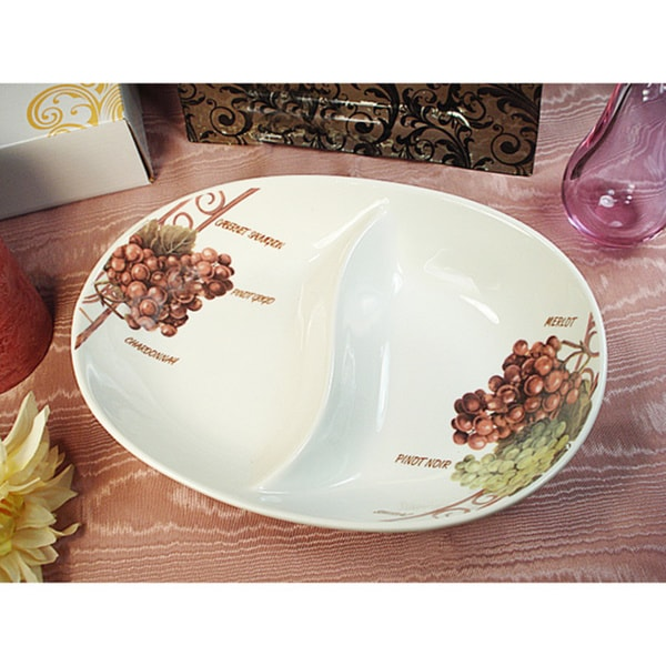 D'Lusso Designs Grape Design 2-section Dish