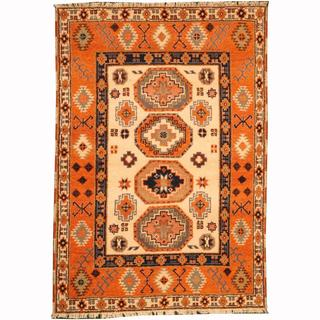 Herat Oriental Indo Hand-knotted Tribal Kazak Ivory/ Navy Wool Rug (4'2 x 5'11)