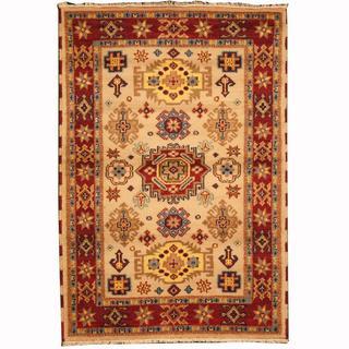 Herat Oriental Indo Hand-knotted Tribal Kazak Ivory/ Burgundy Wool Rug (4'2 x 6')