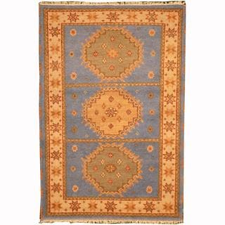 Herat Oriental Indo Hand-knotted Tribal Kazak Light Blue/ Gold Wool Rug (4'1 x 5'11)