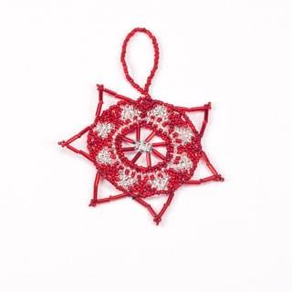 Red and Silver Hand Beaded Star Ornament (Guatemala)
