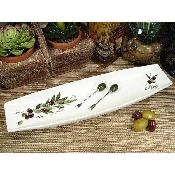 D'Lusso Designs Olive Style Porcelain Long Dish