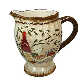 D'Lusso Designs Tuscan Harvest Design Ceramic Pitcher