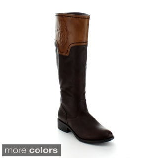 Jacobies Justina-11 Women's Two Tone Knee-high Motocycle Style Boots