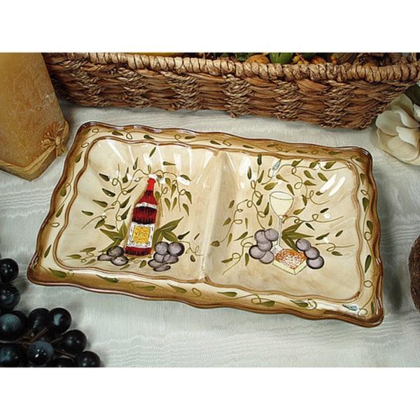 D'Lusso Designs Tuscan Harvest Design 2-section Dish