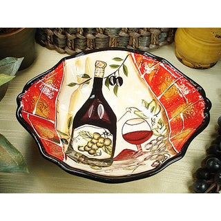 D'Lusso Designs Wine Cheese Collection Ceramic Deep Oval Bowl