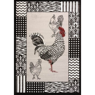 Cristall Darlene Grey Rooster Area Rug (5' 3 x 7' 2)