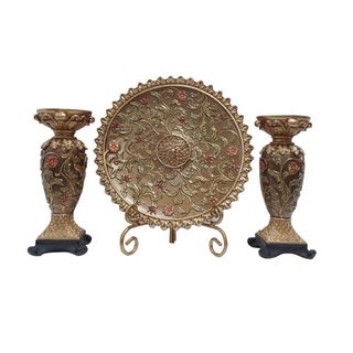 D'Lusso Designs Vine Collection 4-piece Charger Stand and 2 Candlestick Set