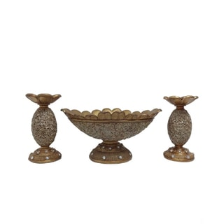 D'Lusso Designs Roses Collection 3-piece Bowl with 2 Candlestick Set