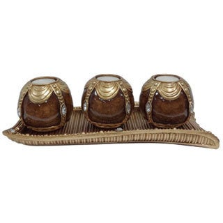 D'Lusso Designs Classic Collection 4-piece Tray with 3 Orb Set