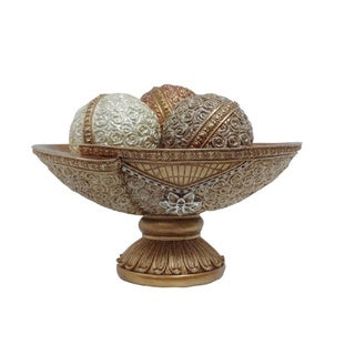 D'Lusso Designs Flower Collection 4-piece Bowl with 3 Orbs Set