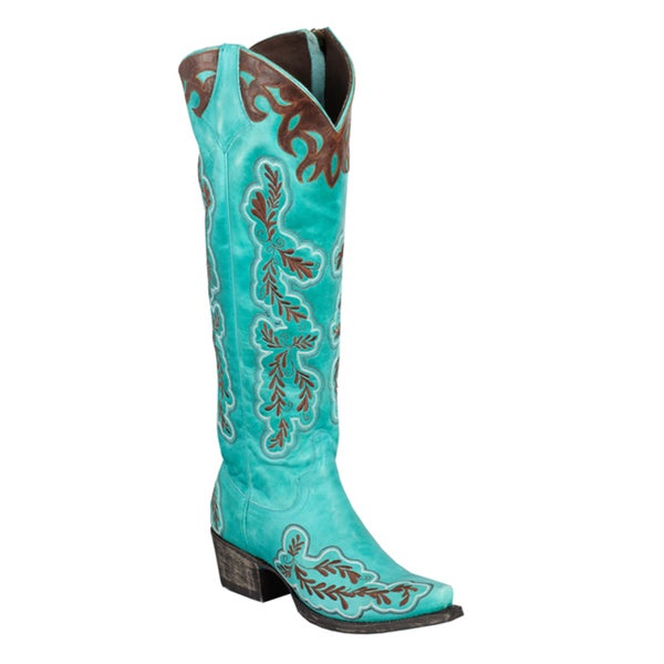 Lane Boots Women's 'Amber' Turquoise Leather Cowboy Boots