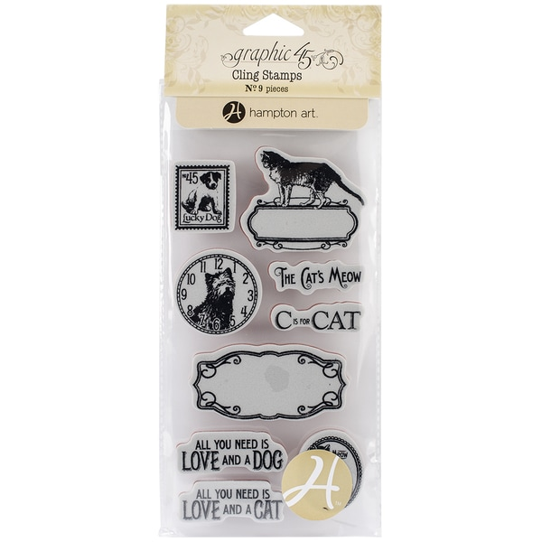 Graphic 45 Raining Cats & Dogs Cling Stamps-#2