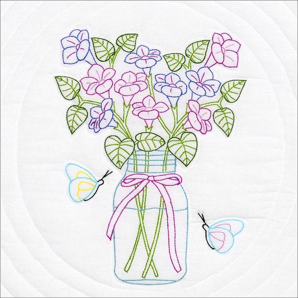 """Stamped White Quilt Blocks 18""""X18"""" 6/Pkg-Mason Jar & Flowers"""
