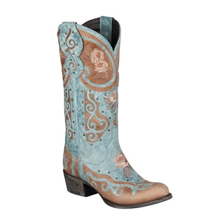 Lane Boots Women's 'Anabella' Turquoise Leather Cowboy Boots
