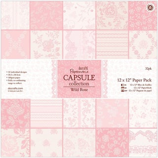 "Papermania Paper Pack 12""X12"" 32/Pkg-Wild Rose"