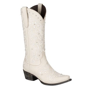 Lane Boots Women's 'Willow' Ivory Leather Cowboy Boots
