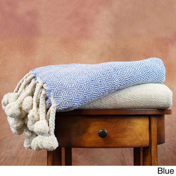 100-percent Cotton Printed Diamond and Solid Throw Blankets (Pack of 2)