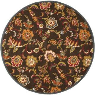 Darin Brown Floral Polypropylene Rug (6'7 Round)