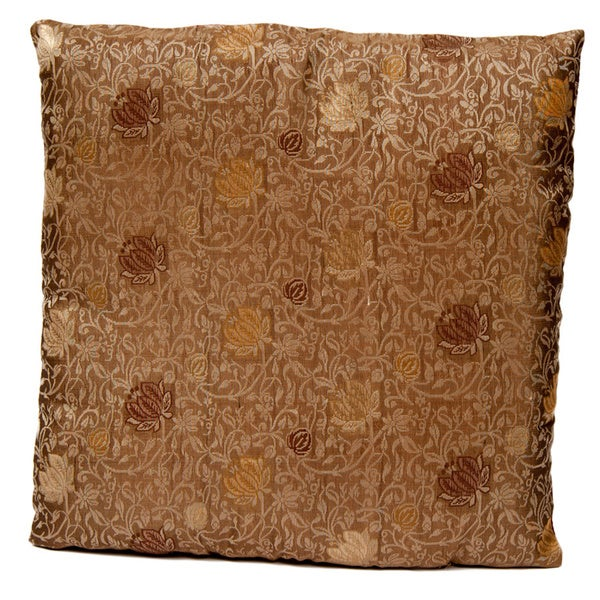 Green/ Gold Banarasi Cushion Cover with Woven Flowers (India)