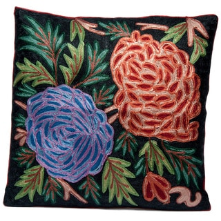 Floral Cushion Cover with Chain Stitch Embroidery (India)