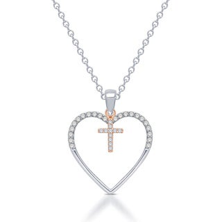 Sterling Silver Silhouettes of Love 1/8ct TDW Diamond Heart Cross Pendant (I-J, I2-I3)