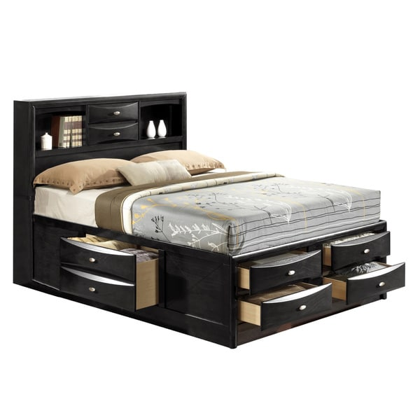 Linda King-size Black Storage Bed