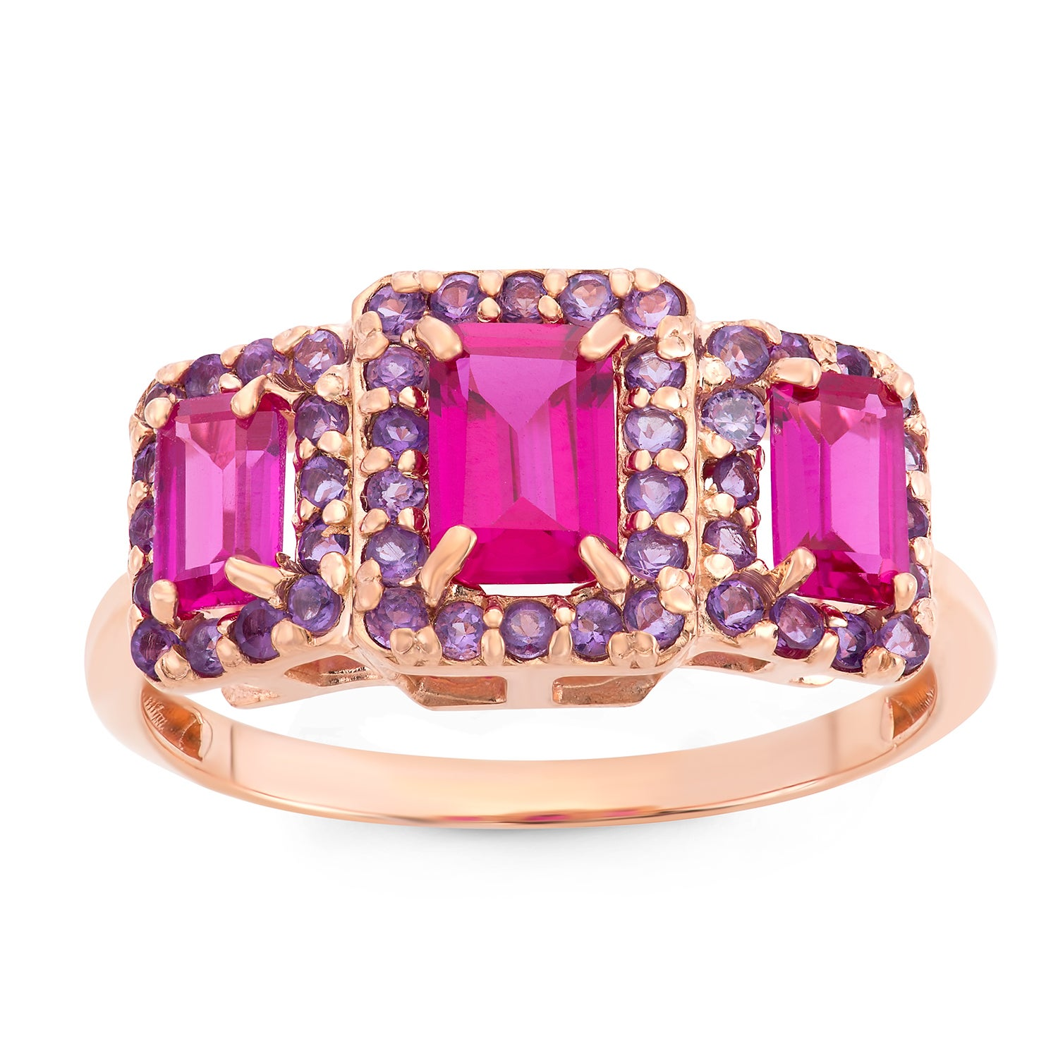 Gioelli Designs Rose Goldplated Sterling Silver Created Ruby And Amethyst Emerald Cut Ring at Sears.com