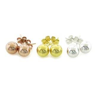 Eternally Haute Sterling Silver 7mm Ball Studs in 3 Colors