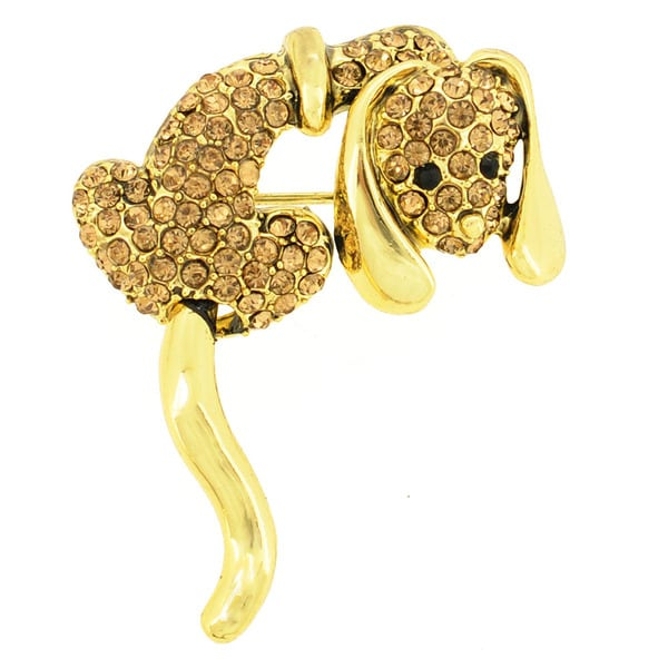 Brown Crystal Dog Pin Brooch