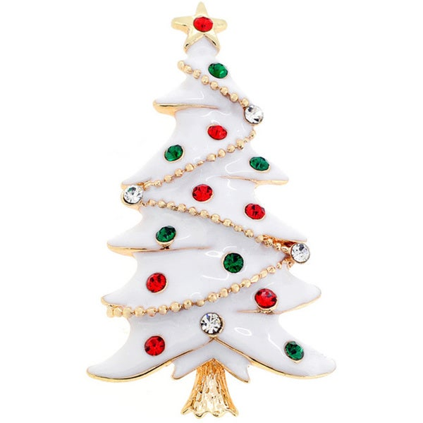 White Christmas Tree Crystal Pin Brooch