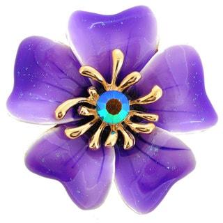 Purple Enamel Oleander Flower Brooch and Pendant