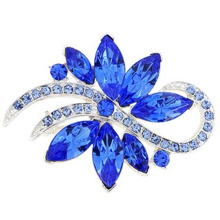Blue Poinsettia Crystal Flower Pin Brooch