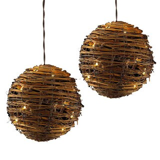 Kurt Adler UL 35-light 8-inch 3-piece Rattan Ball Light Set