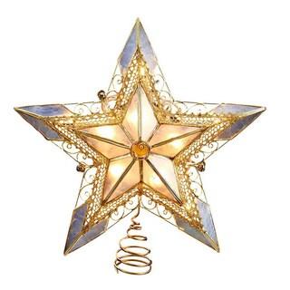 Kurt Adler UL 10-light Capiz Gold Lace Star Treetop